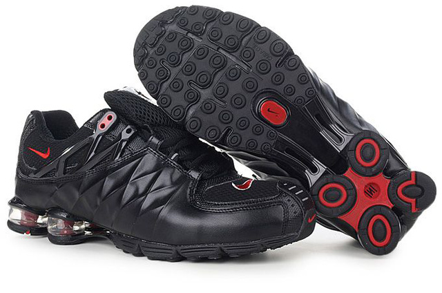 243NS14 2014 Nike Shox R4 Fashion Chaussures Homme Noir Rouge