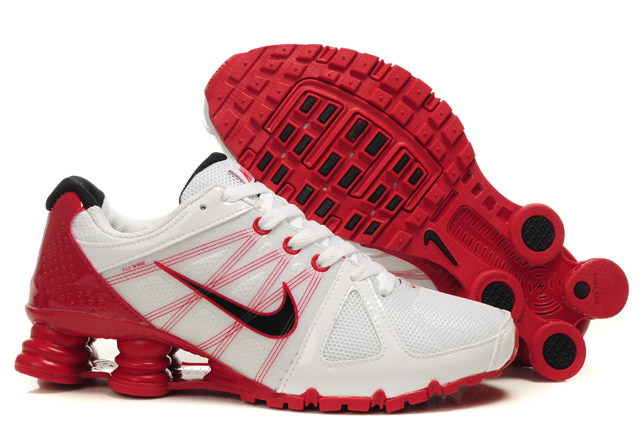 329WE67 2014 Homme Blanc Rouge Nike Shox R6 Chaussures