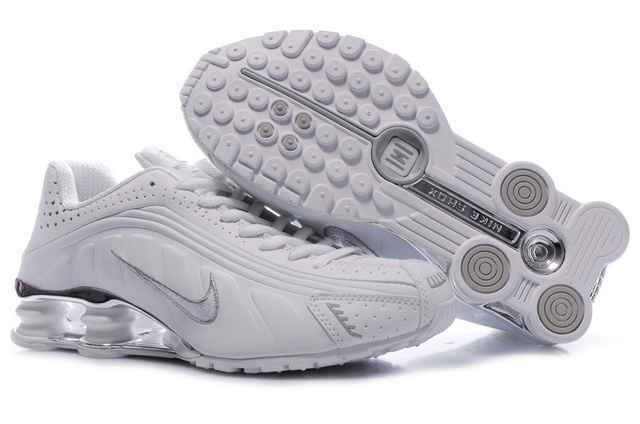 335ON11 2014 Blanc Silvery Homme Nike Shox R4 Chaussures