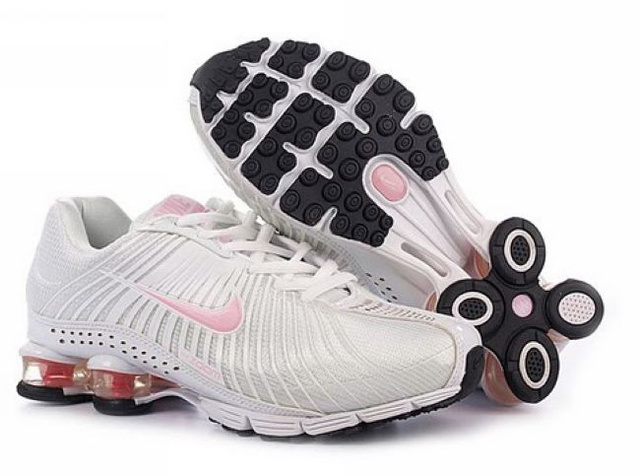 426VP04 2014 Nike Shox R4 Chaussures Blanc Light Rose Femme
