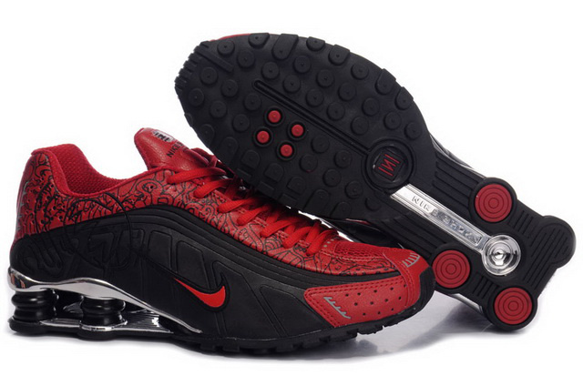 807HA37 2014 Homme Noir And Rouge Nike Shox R4 Fashion Chaussures