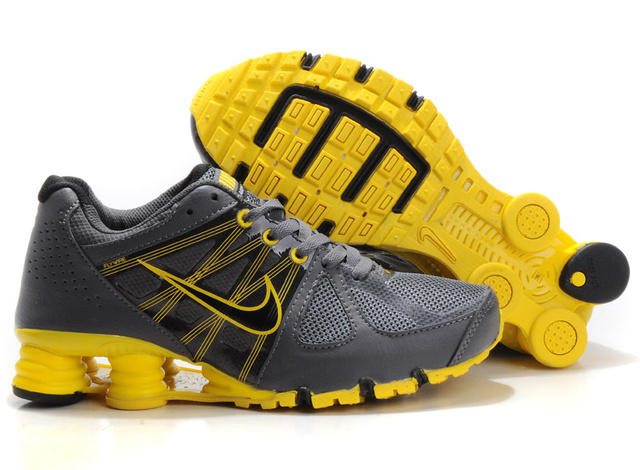 820HJ23 2014 Homme DarkGris Jaune Nike Shox R4 Chaussures