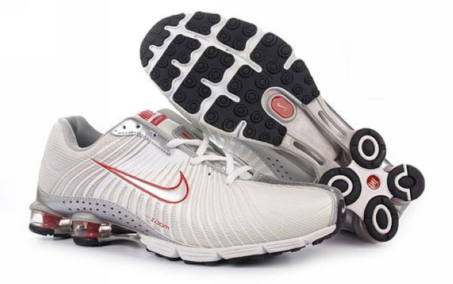 959AT74 2014 Nike Shox R4 Chaussures Blanc Silver Rouge Homme