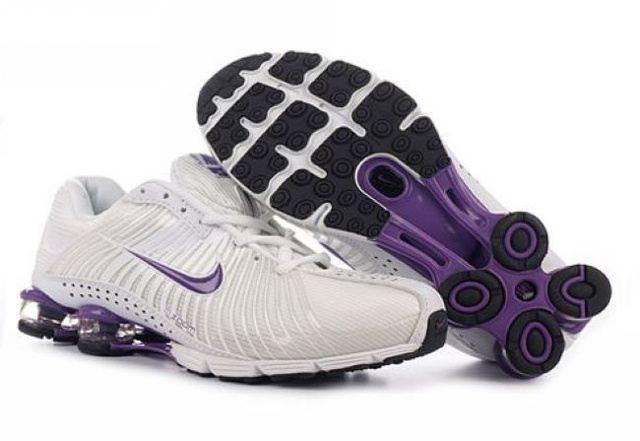 Blanc Pourpre Nike Shox R4 Chaussures Femme 744SV81 2014