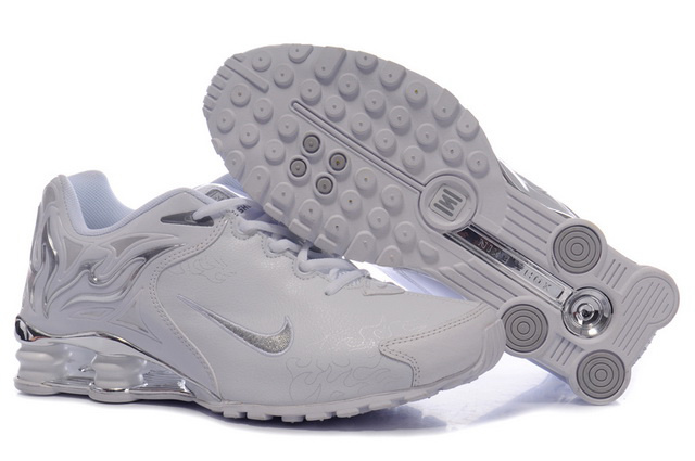 Blanc Silvery Nike Shox R4 Chaussures 181DL52 2014 Homme