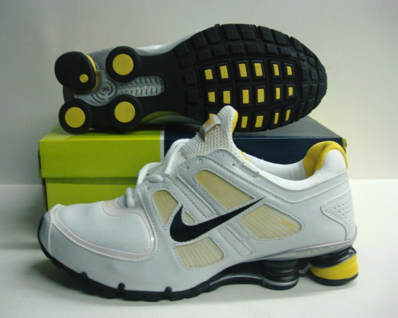 Homme 487LM01 2014 Blanc Jaune Nike Shox R6 Chaussures
