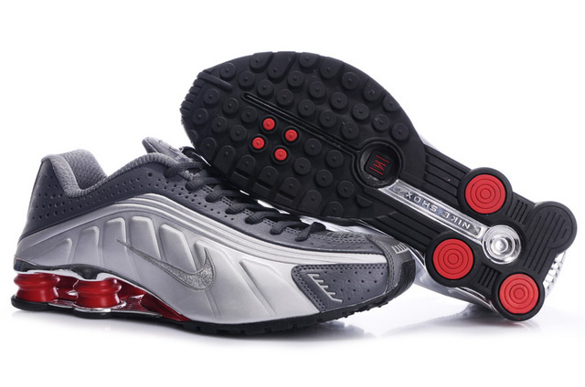 Homme 612MQ97 2014 Gris Silver Rouge Nike Shox R4 Chaussures