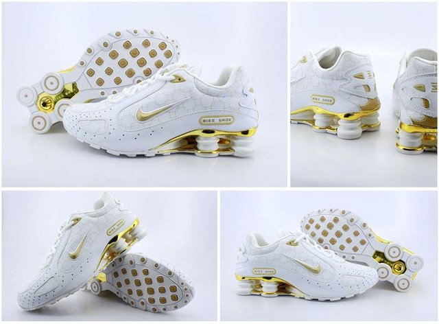 Homme 791RB42 2014 Nike Shox Monster Chaussures Blanc D'Or