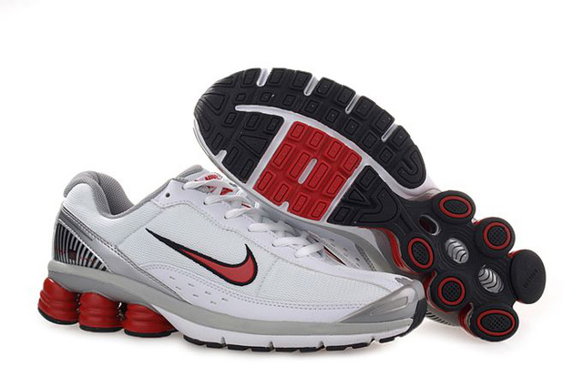 Homme Nike Shox R6 Chaussures 342BH56 2014 Blanc Gris Rouge