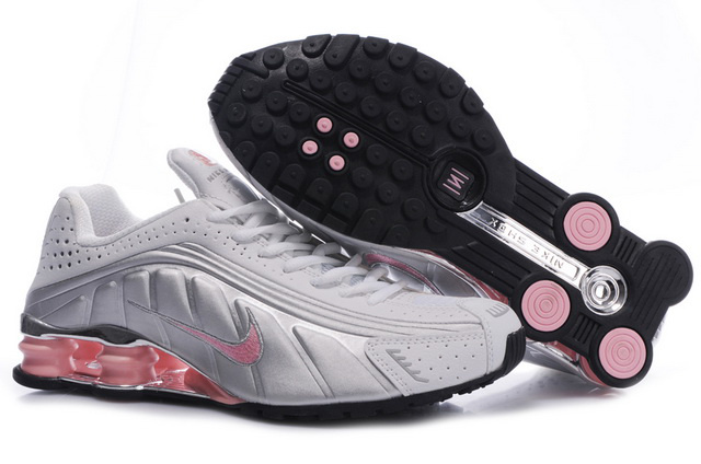 Nike Shox R4 Chaussures 834ML44 2014 Femme Blanc Silvery Rose