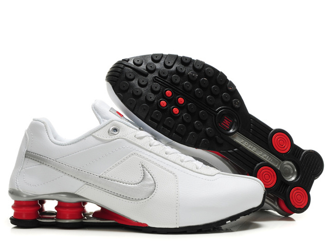 Nike Shox R4 Chaussures Homme Blanc Silver Rouge 089IN98 2014