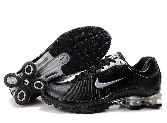 Nike Shox R4 Leather Chaussures Noir Silvery 520DH63 2014 Homme