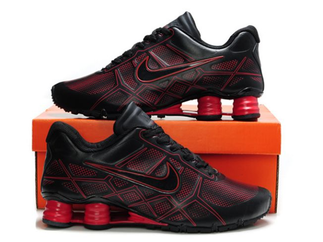 758YD58 2014 Noir/Rouge Nike Shox Turbo 12 Leather Homme