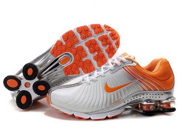 846CO86 2014 Blanc/Silver-Orange Nike Shox Experience Femme