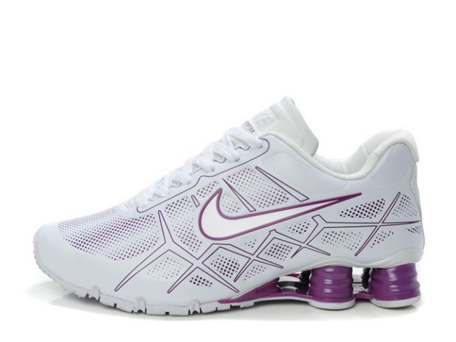 Femme 965CN89 2014 Nike Shox Turbo 12 Leather Blanc/Pourpre