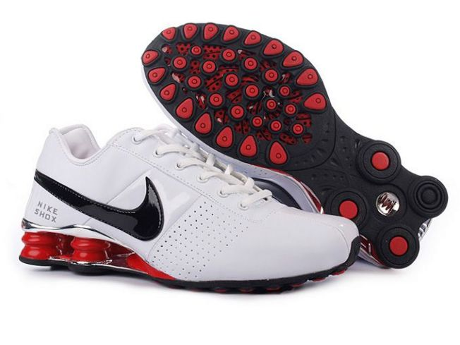 Homme 591NI36 2014 Noir Blanc Sport Rouge Nike Shox Deliver