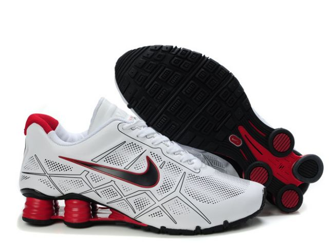 Homme Blanc/Noir-Rouge Nike Shox Turbo 12 Leather 220JI29 2014