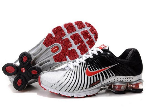 Nike Shox Experience Blanc/Noir-Rouge Homme 122BH25 2014