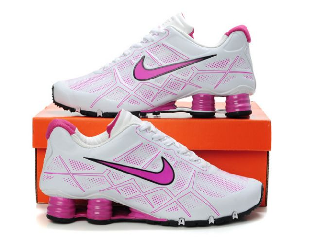 Nike Shox Turbo 12 Leather Blanc/Rose Femme 663MV80 2014