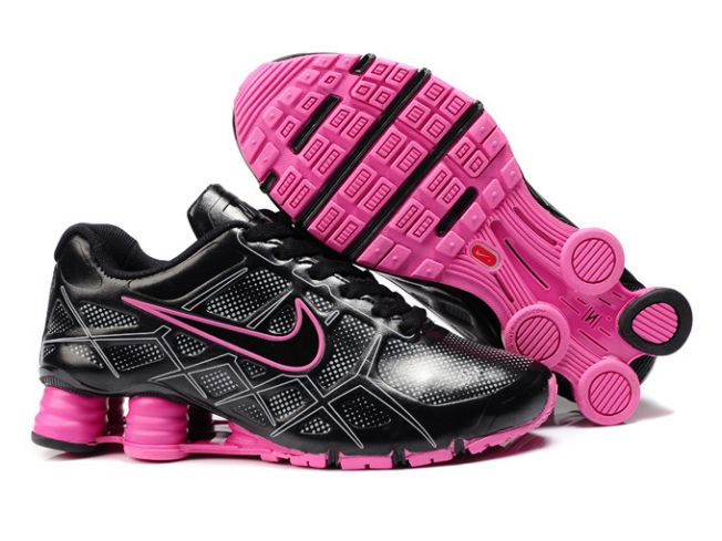 Noir/Rose Nike Shox Turbo 12 Leather 727EW09 2014 Femme